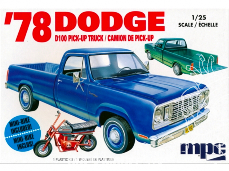 """MPC maquette voiture 901 1978 Dodge D100 Custom """"Long-Bed"""" Pickup Truck 1/25"""
