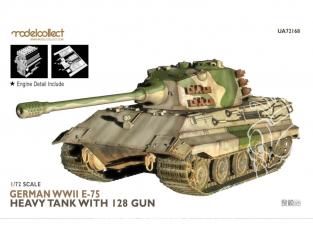 Modelcollect maquette militaire 72168 Char lourd allemand E-75 de la seconde guerre mondiale avec canon de 128 mm 1/72
