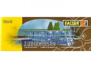 Faller 180648 2 Rampes d'éclairage à LED blanc