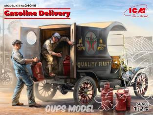 Icm maquette voiture 24019 Livraison d'essence, voiture de livraison modèle T 1912 avec chargeurs d'essence américains 1/24