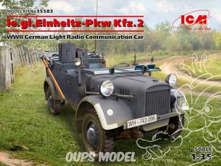 Icm maquette militaire 35583 le.gl.Einheitz-Pkw Kfz.2 German Light Radio Communication Car WWII 1/35