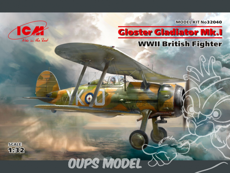 Icm maquette avion 32040 Gloster Gladiator Mk.I, WWII British Fighter 100% new moule WWII 1/32