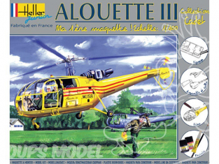 Heller maquette helicoptere 49045 kit complet Alouette III 1/100