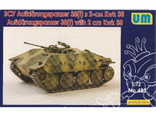 UM Unimodels maquettes militaire 483 Aufklarungspanzer 38(t) avec 2cm Kwk38 Véhicule de reconnaissance à chenilles 1/72