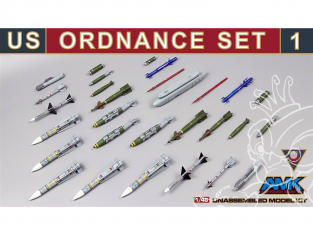 AMK maquette avion 88E01 Set Armement US 1 - US Ordonance Set 1 1/48
