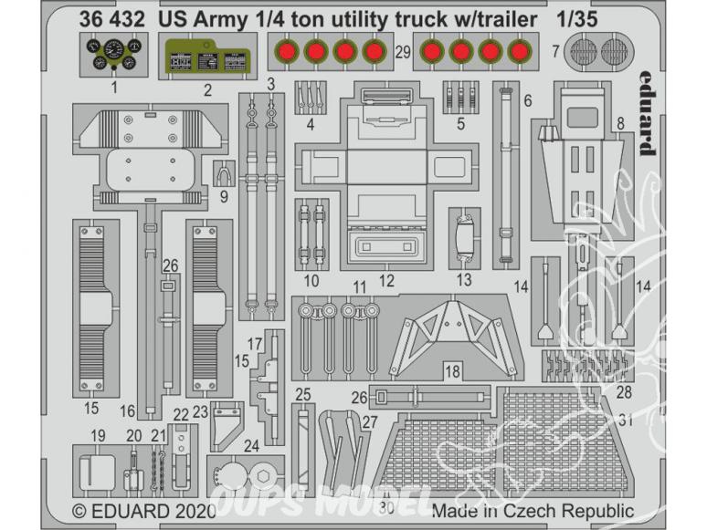 Eduard photodecoupe militaire 36432 Amélioration US Army 1/4 Ton Jeep Utility truck avec remorque Takom 1/35