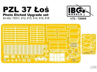 IBG avion Photodecoupe 72IN09 pour PZL P.37 ŁOŚ IBG Model 1/72