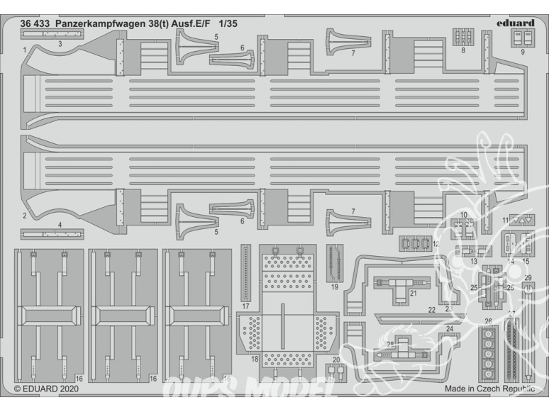 Eduard photodecoupe militaire 36433 Amélioration Panzerkampfwagen 38(t) Ausf.E/F Tamiya 1/35