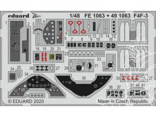 EDUARD photodecoupe avion FE1063 Zoom Amélioration F4F-3 Hobby Boss 1/48