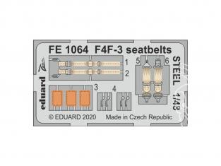 EDUARD photodecoupe avion FE1064 Harnais métal F4F-3 Hobby Boss 1/48