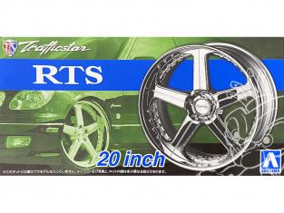 """Aoshima maquette voiture 53706 Jantes Trafficstar RTS 20"""" et pneus 1/24"""
