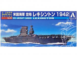 Aoshima maquette bateau 09369 USS Lexington 1942 World Navy Series 1/2000