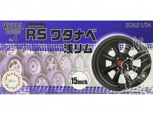 """Fujimi maquette voiture 193458 Jantes RS Watanabe 15"""" et pneus 1/24"""