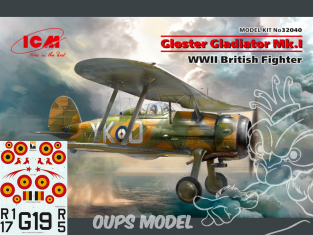 Icm maquette avion 32040BE Gloster Gladiator Mk.I, WWII British Fighter Version Belge WWII 1/32