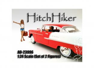 American Diorama figurine AD-23996 Auto Stoppeuse - Set de 2 Figurines 1/24