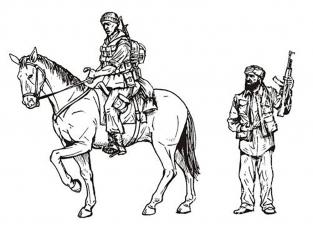 CMK figurine f35198 Policier militaire américain monté et civil irakien un Cheval) et 2 figurines 1/35