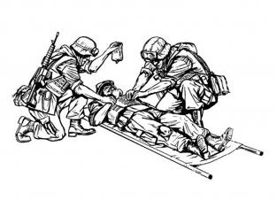 CMK figurine f35195 US Marines en Irak soldat blessé sur une civière et 2 médecins 3 figurines 1/35
