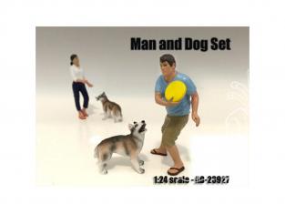 American Diorama figurine AD-23927 Set homme et chien 1/24