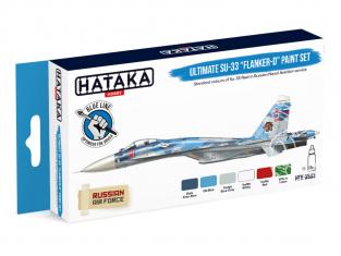 Hataka Hobby peinture acrylique Blue Line BS83 Ensemble de peinture Ultimate Su-33 Flanker-D set 6 x 17ml