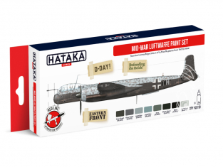 Hataka Hobby peinture acrylique Red Line AS110 Mid-War Luftwaffe paint set 8 x 17ml