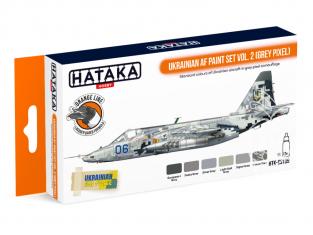 Hataka Hobby peinture laque Orange Line CS109 Ukrainian AF paint set vol. 2 (Grey Pixel) 6 x 17ml