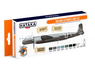 Hataka Hobby peinture laque Orange Line CS110 Mid-War Luftwaffe paint set 8 x 17ml