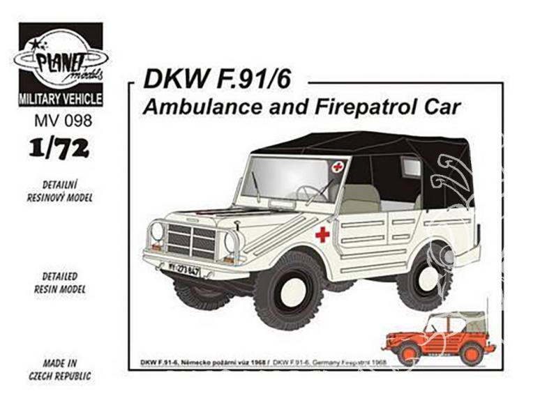 Planet Maquettes Militaire mv098 DKW F-91/6 Ambulance et Fire patrol car full resine kit 1/72