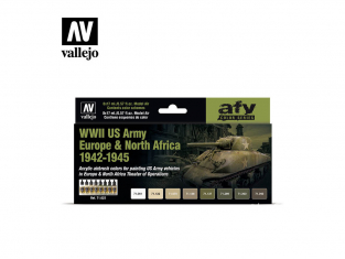 Vallejo Set Afv Color series 71625 Seconde Guerre mondiale US Army Europe et North Africa 1942-1945 8x17ml