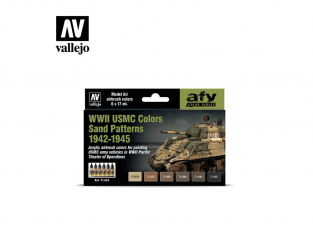 Vallejo Set Afv Color series 71624 USMC WWII couleurs motifs de sable 1942-1945 6x17ml