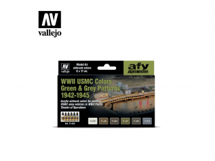Vallejo Set Afv Color series 71623 USMC WWII Couleurs motifs verts et gris 1942-1945 6x17ml