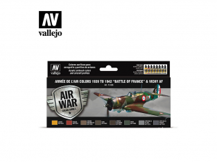 Vallejo Set Air War series 71626 Armée de l'Air colors 1939 to 1942 Battle of France et Vichy AF 8x17ml