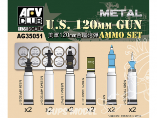 Afv Club maquette militaire ag35051 SET DE MUNITIONS US Army 120mm en Métal 1/35