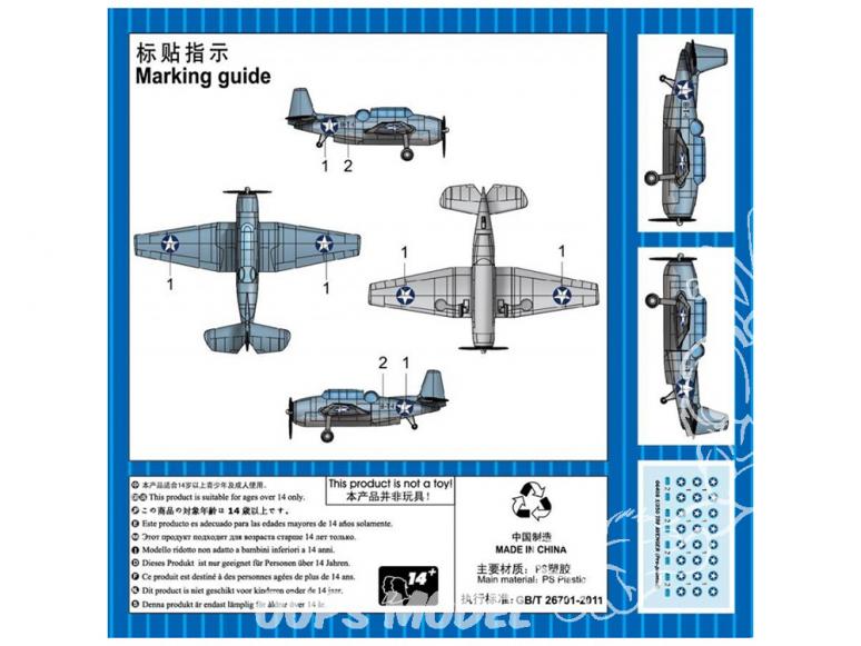 TRUMPETER maquette avion 06408 TBF Avenger pré-peint 1/350