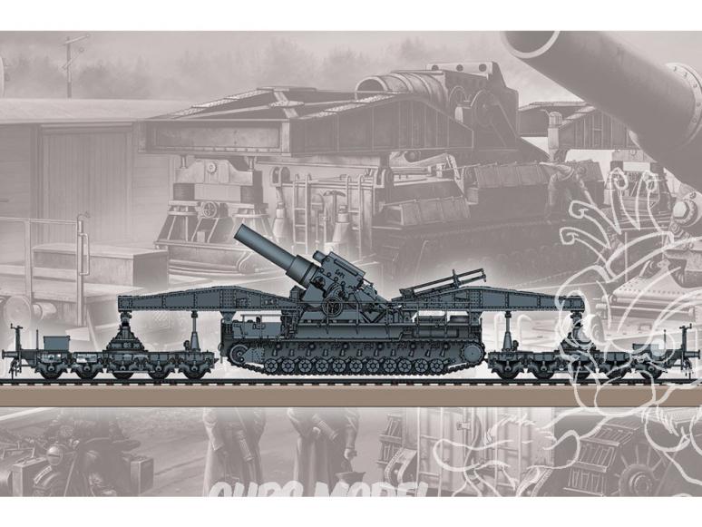 Hobby Boss maquette militaire 82961 Karl-Geraet 040/041sur le transporteur ferroviaire 1/72