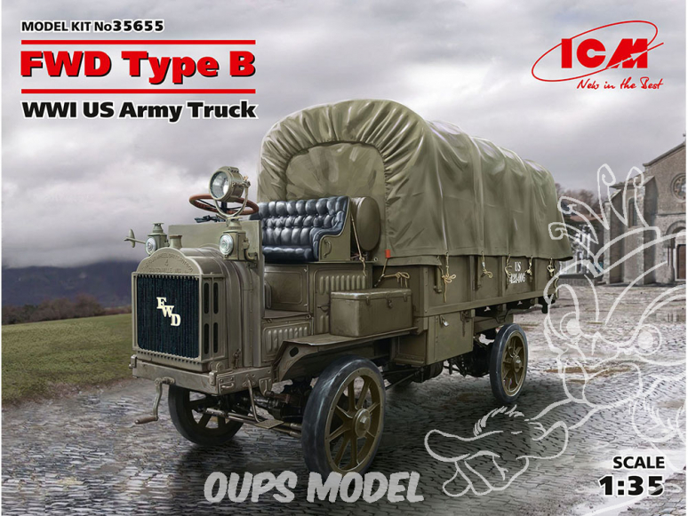 Icm maquette figurines 35655 FWD Type B, camion de l'armée américaine (100% nouveaux moules) WWI 1/35