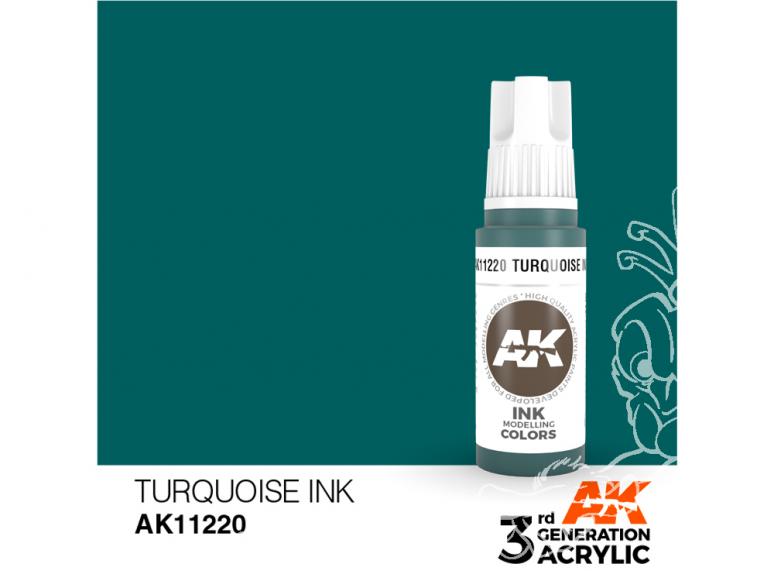Ak interactive peinture acrylique 3G AK11220 Encre turquoise 17ml