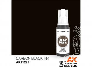 Ak interactive peinture acrylique 3G AK11223 Encre noir carbone 17ml