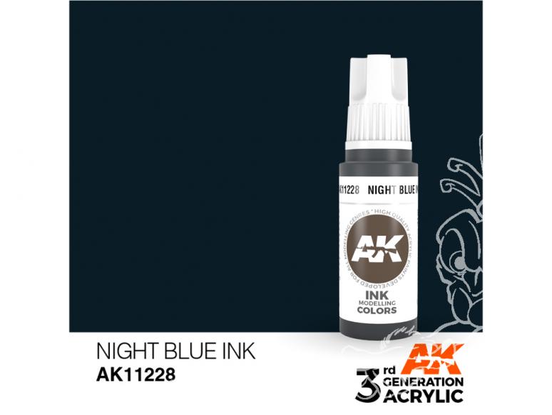 Ak interactive peinture acrylique 3G AK11228 Encre bleu nuit 17ml