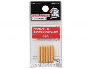 Mr Hobby GMA-01K Mine de rechange pour aérographe Gundam Marker (6 pièces)