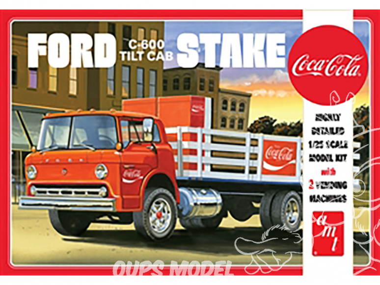 "AMT maquette camion 1147 Ford C600 Stake Bed avec machines ""Coca-Cola"" 1/25"