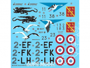 DECALQUES BERNA DECALS BD32-65 Mirage 2000C 2eme Escadre RDI RDM et -5F 1/32