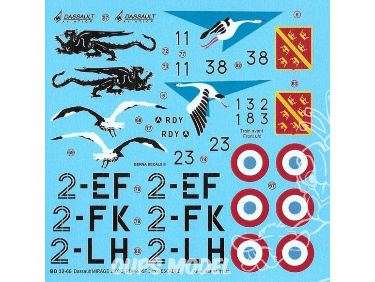 DECALQUES BERNA DECALS BD32-65 Mirage 2000C 2eme Escadre RDI RDM et -5F 1/32