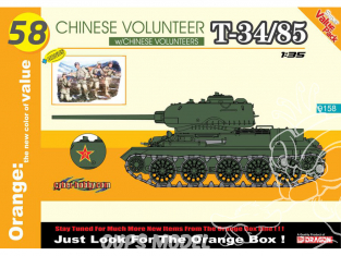 Dragon maquette militaire 9158 Volontaire chinois T-34/85 + 4 Volontaires chinois 1/35