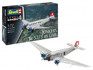 Revell maquette avion 04975 Junkers Ju52/3m Civil 1/72