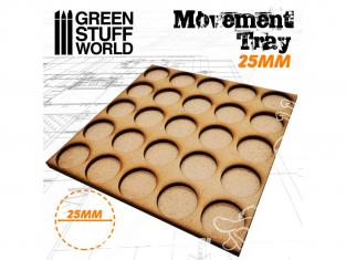 Green Stuff 502886 Plateaux de Mouvement MDF 25mm 5x5 - Hordes en Ligne