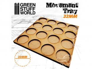 Green Stuff 502893 Plateaux de Mouvement MDF 32mm 4x4 - Horde en Ligne