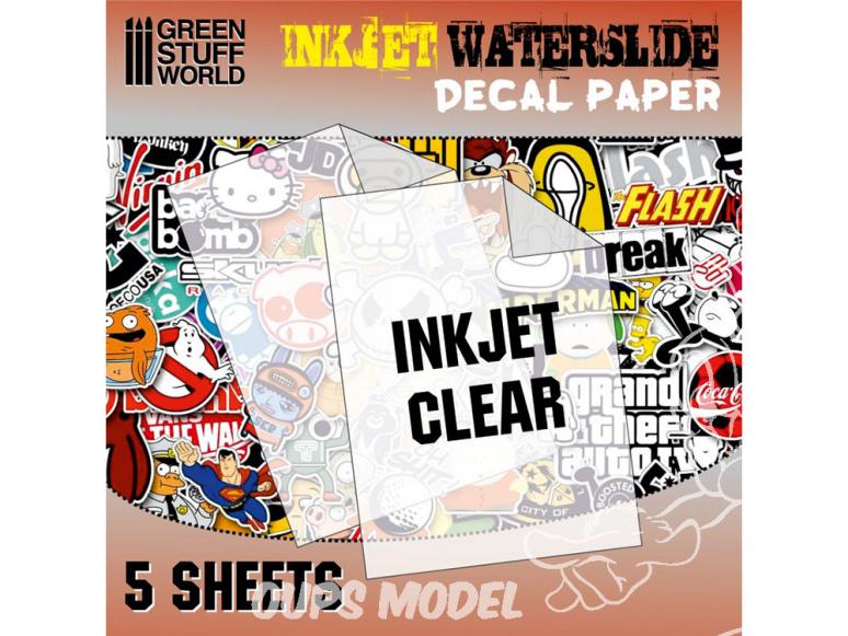 Green Stuff 10066 Decalcomanies a l'eau Transparent pour imprimante Inkjet