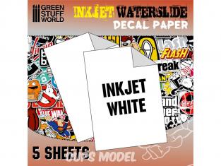 Green Stuff 10067 5 feuilles Decalcomanies a l'eau Blanc pour imprimante Inkjet