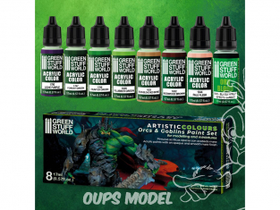 Green Stuff 506235 Artist Colours Set Peinture Orcs et Gobelins