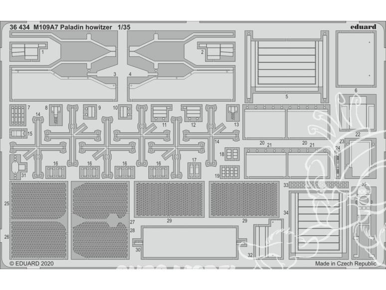 Eduard photodecoupe militaire 36434 Amélioration M109A7 Paladin howitzer Panda Hobby 1/35
